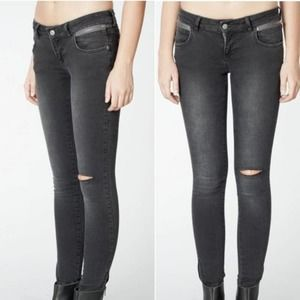 Anine Bing Ripped Double Zipper Jeans Black 27